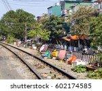 railroad tracks on a street in...   Shutterstock . vector #602174585