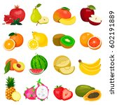 set of fruits isolated on a... | Shutterstock .eps vector #602191889