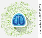 lungs illustration   halth care ... | Shutterstock .eps vector #602193899