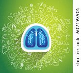 lungs illustration   halth care ... | Shutterstock .eps vector #602193905
