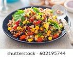 mexican black beans  avocado ... | Shutterstock . vector #602195744