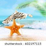 summer beach. summer concept. | Shutterstock . vector #602197115