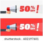 50  off megaphone banners | Shutterstock .eps vector #602197601