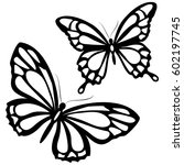 black butterfly  isolated on a...   Shutterstock .eps vector #602197745