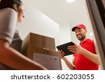 delivery  mail  people and...   Shutterstock . vector #602203055