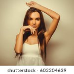 young beautiful woman posing... | Shutterstock . vector #602204639