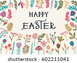 happy easter greeting card with ... | Shutterstock .eps vector #602211041