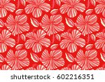 seamless tropical design with... | Shutterstock . vector #602216351