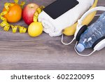 fitness concept with a bottle... | Shutterstock . vector #602220095