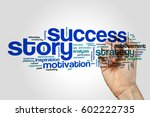 Small photo of Success story word cloud concept on grey background