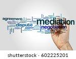 mediation word cloud concept on ... | Shutterstock . vector #602225201