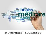 medicare word cloud concept on... | Shutterstock . vector #602225519