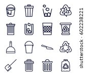garbage icons set. set of 16... | Shutterstock .eps vector #602238221