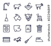Domestic Icons Set. Set Of 16...