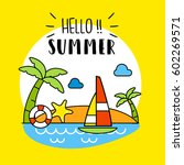 hello summer background. vector ... | Shutterstock .eps vector #602269571