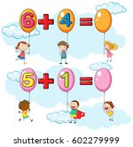 kids and two addition questions ... | Shutterstock .eps vector #602279999