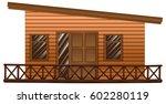 wooden hut with terrace...   Shutterstock .eps vector #602280119