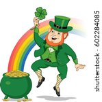 leprechaun with pot of gold | Shutterstock .eps vector #602284085