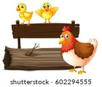 wooden sign with two chicks and ... | Shutterstock .eps vector #602294555