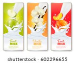 set of three labels of of fruit ... | Shutterstock .eps vector #602296655