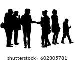 big crowds people on white...   Shutterstock .eps vector #602305781