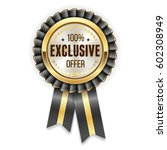 gold exclusive offer badge... | Shutterstock .eps vector #602308949