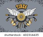 illustration emblem tire wheel ... | Shutterstock . vector #602316635