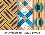 set of 3 abstract patterns.... | Shutterstock .eps vector #602319935