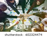 corporate business people hands ... | Shutterstock . vector #602324474