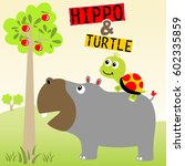 hippopotamus and turtle want to ... | Shutterstock .eps vector #602335859