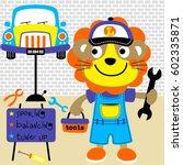 cute lion the best mechanic ...   Shutterstock .eps vector #602335871