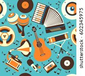 illustration musical theme of... | Shutterstock . vector #602345975