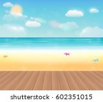bright sea beach with a real... | Shutterstock .eps vector #602351015