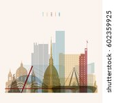 transparent style turin skyline ... | Shutterstock .eps vector #602359925