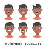set of male emoji characters.... | Shutterstock .eps vector #602361761