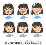 set of asian emoji character....   Shutterstock .eps vector #602361779