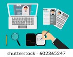 office recruiter recruits desk... | Shutterstock .eps vector #602365247