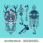 set of the epic indian shaman... | Shutterstock . vector #602365601
