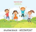 happy jumping children in the... | Shutterstock .eps vector #602369267