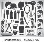 set of beauty hair salon or... | Shutterstock .eps vector #602376737