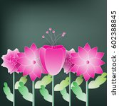 beautiful pink  color  flower... | Shutterstock .eps vector #602388845