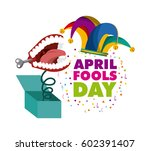 april fools day card with... | Shutterstock .eps vector #602391407
