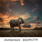 elephant with trunks and big... | Shutterstock . vector #602391779