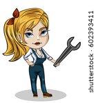 vector illustration of a girl... | Shutterstock .eps vector #602393411