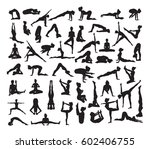 a set of detailed yoga poses... | Shutterstock .eps vector #602406755