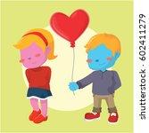 blue boy giving heart shaped... | Shutterstock .eps vector #602411279
