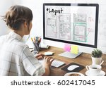 website development layout... | Shutterstock . vector #602417045