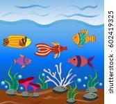 underwater world  whale...   Shutterstock .eps vector #602419325
