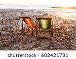 sunbed on tropical beach in sri ... | Shutterstock . vector #602421731