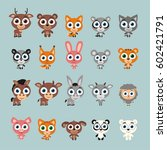 set of isolated funny animals... | Shutterstock .eps vector #602421791
